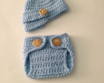 Crochet Baby Visor Hat and Diaper Cover Newborn Boys Clothing,Newborn Photo Prop,Baby Visor Hat,Coming Home Outfit,Made To Order