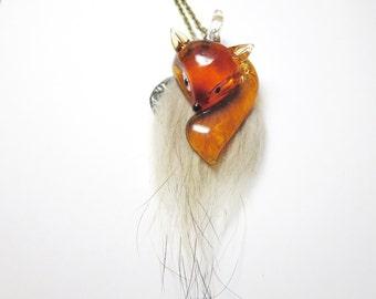 Sale today -Fox Necklace -Orange ,White fox necklace -  snow fox -fur fox- white fox pendant-, little  fox pendant with  Free  gift