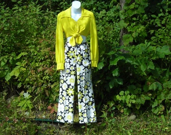 60's mod  flower power pants and bright yellow long sleeve crop top, Loomtogs. x-small
