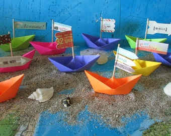 10 paper boat origami decoration photo prop art supply party decor cake topper