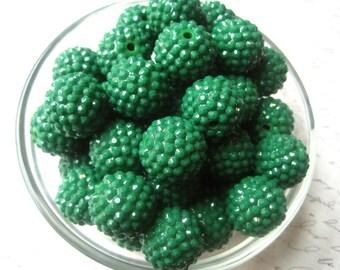 Green Rhinestone Bead, 10 pcs, 20mm Dark Green Bumpy Chunky Necklace Bead, Disco Ball Bead, Gumball Beads, Bubblegum Bead, Acrylic Bead