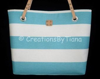 Blue/White Striped - Canvas Bag - Purse - Nautical - Spring - Summer - Shoulder Bag w leather handles - Handmade - Handbag