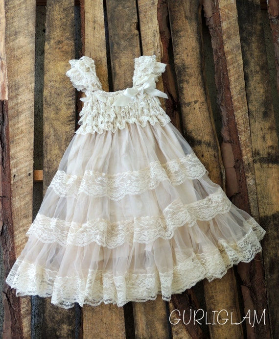 Lace Flower Girl Dress-Champagne Flower Girl Dress-Long Petti