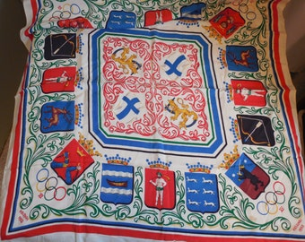 rare,vintage 1952 HELSINKI OLYMPICS commenorative silk scarf