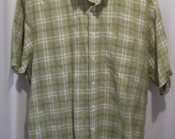 vintage, BROOK BROTHERS pure IRISH linen lime green plaid short sleeve shirt in mens xl