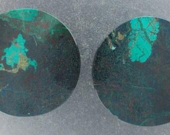 "Malachite Chrysocolla 11/8"", 28.5mm one pair ear plugs"