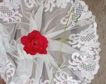 2 yards  6.5 Inch wide Off White mesh lace trim with Pink embroidery thread for wedding dress DIY Craft flower lace lacemode 157