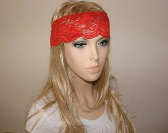 Red stretchy wide lace headband, yoga headband, bandana headband, Bohemian Headband, hippie boho flower lace headband Woman Teen Adult