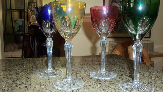 Tall Multi Colored White Wine Stemware Set/ by ...