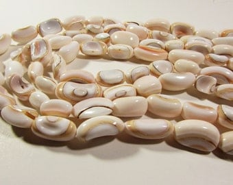 White Pink Geometric Shell Oval Nugget Beads Strand 10mm - 20mm