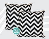 Black & White Chevron Pillow Covers Shams - 18 x 18, 20 x 20 and More Sizes - Zipper Closure- dc1820