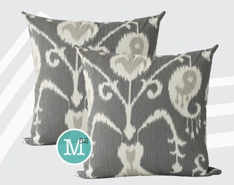 Java Ikat Grey Beige Pillow Covers Shams - 18 x 18, 20 x 20 and More Sizes - Zipper Closure- dc1820