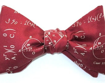 Men's SILK BOW TIE Math Mathematics Scientist Teacher Science Engineer Calculus Numbers BowTie