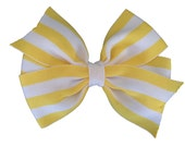 25% off SALE Adorable yellow & white striped hair bow, yellow hair bows, girls hair bows, girls bows, toddler bows, 4 inch bows