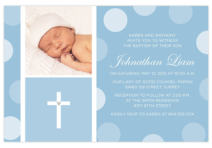 Blue Baby Boy Baptism / Christening Invitation with Photo