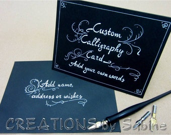 Custom Calligraphy Card Handwritten Black White Personalized Original Art Greeting Note Card / hand drawn / Custom Card / Custom Order
