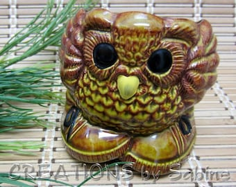 Owl Ceramic Pot, Glazed Pen Holder Brown Jar Vase Pencil Storage Hoot With Shoes Whimsical Collectible Woodland Vintage FREE SHIPPING (248)