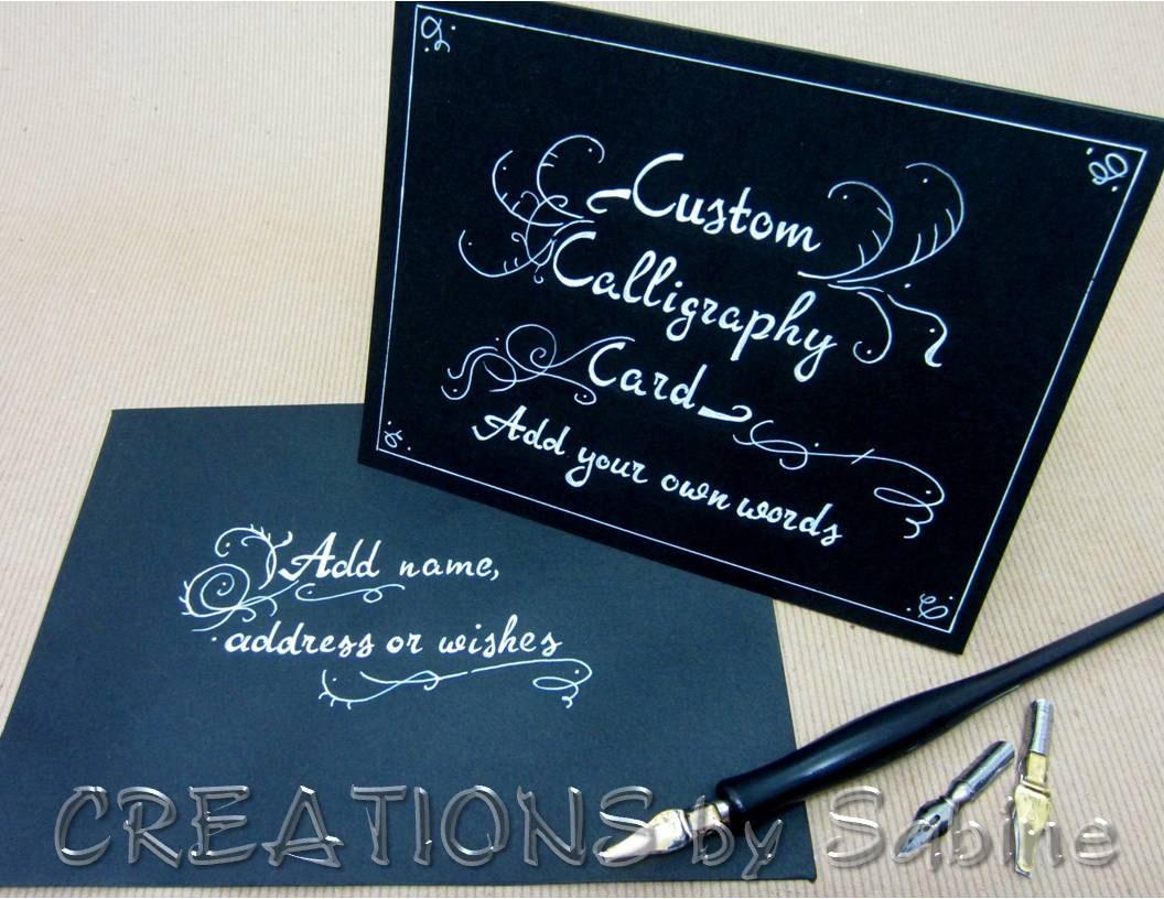 Custom Calligraphy Card Handwritten Black White Personalized