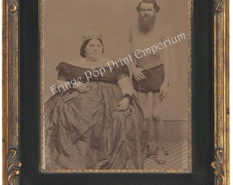 Victorian Sideshow Circus Freak Art Print 8 x 10 - Odd Couple - Fat Woman & Skinny Man
