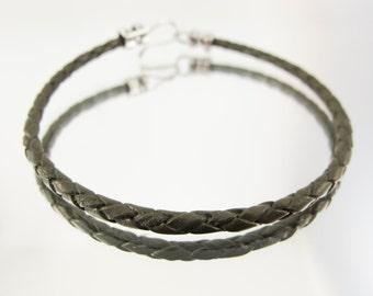 Bolo Braided Leather Bracelet Bracelet Olive #37