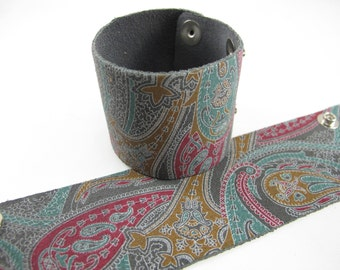 "Grey Paisley Sueded Leather Cuff Bracelet 2"" Wide, #"