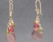 Citrine, peridot, and pink tourmaline gemstone earrings Victorian 219