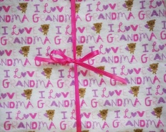 Extra Large Receiving/Swaddle Blanket - I Love Grandma Pink Purple Teddy Bear 36X42