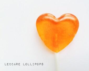 Orange Soda Lollipops // 6 Bright Orange  Hearts // Summer Wedding // Spring Favors // Fall Wedding //