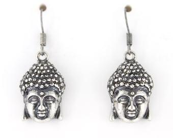 Vintage Feel Gold-tone/Silver-tone Buddha Head Drop Earrings