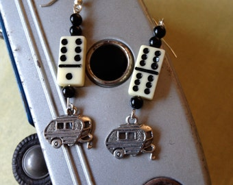 Travel Trailer Earrings - Charm Style with Mini Domino Bead