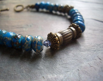"Imperial Jasper Bracelet / One-of-a-Kind / Aqua / Crystal / Antique Brass / Stone / Bead / Stone / Charm / Toggle  - 7 3/4"" long - B25"