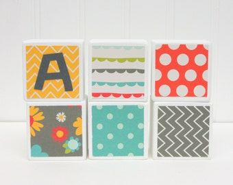 Baby Name Blocks - SET OF 6  - Gray Yellow Teal Red Green Chevron Dots Flowers