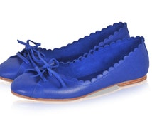 ENDLESS LOVE. Blue shoes / womens shoes / leather ballet flats / pointy flats / royal blue leather. Available in different leather colors.