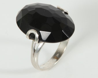Silver Onyx ring - Handmade stone jewelry - Natural stone ring