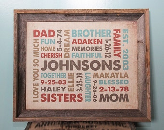 16x20 Burlap Print with Barn wood Frame featuring Your Words, Your Colors, Your Story - Great for Family, Wedding & Baby
