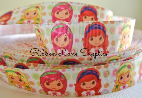 "7/8"" Ribbon by the yard-Strawberry Shortcake Girl and Friends Polka dot Grosgrain ribbon-supplies by Ribbon Lane Supplies"