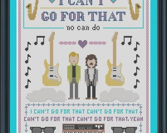 INSTANT DOWNLOAD Hall and Oates Cross Stitch Sampler Pattern - I Can't Go For That PDF
