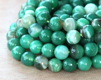 Faceted Striped Agate Beads, Green and White, 8mm Round - 15 inch strand - eGR-AG026-8