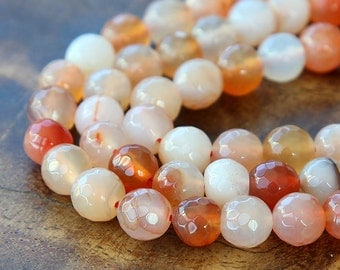 Faceted Dyed Agate Beads, Bisque and Orange Mix, 8mm Round - 15 inch strand - eGR-AG58030-8
