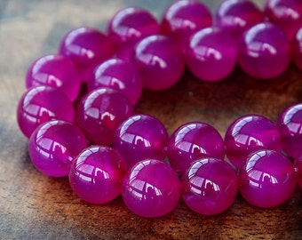 Dyed Agate Beads, Magenta, 10mm Round- 15 Inch Strand - eGR-AG08801-10