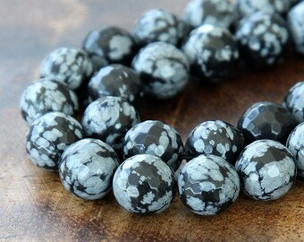 Snowflake Obsidian Beads, 10mm Faceted Round - 15 inch strand - EGF-OB001-10