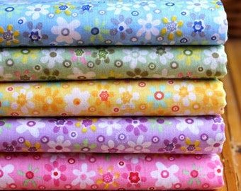 5 pieces Color Small Flowers Group Series Color collection Cotton Cloth  Quilt Fabric-DIY Handmade Fabric Cloth