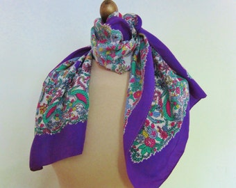 1940s 50s LONG  silk scarf , JUNGLE scarf, violet scarves, vintage scarf , 40s fashion, oblong silk scarf