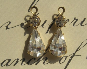 Swarovski Crystal 22MM Multi Stone Brass Rhinestone Pear Teardrop 1 Loop