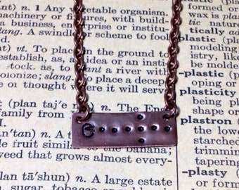 Pac-Man Inspired Hand Stamped Bar Necklace