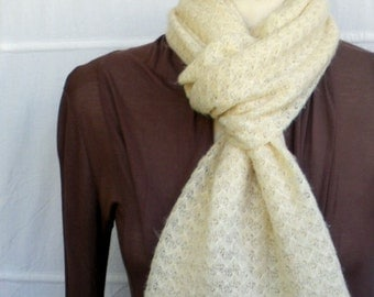 Winter Infinity Scarf, Loop Scarf, Circle Scarf, Soft Cream Sweater Knit Scarf with Shining Thread