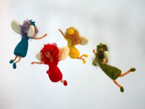 Needle Felted Fairy Nursery Mobile, Baby mobile, felt mobile, hanging mobile