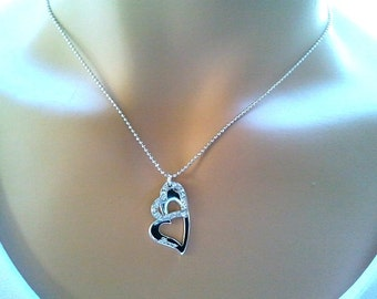 20%  SALE!! Open Heart Necklace, Cubics, charm, pendant, lariat, necklace,  christmas gift, cocktail jewelry, heart necklace