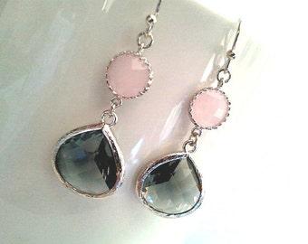 Gray Earrings, Pink Earrings, Wedding Earrings,Drop, Dangle, Glass Earrings, bridesmaid gifts,Christmas Earrings,christmas gift