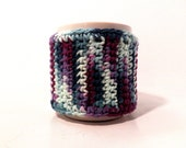 Crochet cup cozy handmade cup sleeve mixed colors purples and greens
